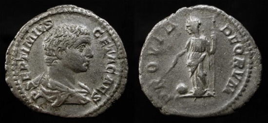 Ancient Coins - Geta 198-208 AD. Silver Denarius. RSC 170