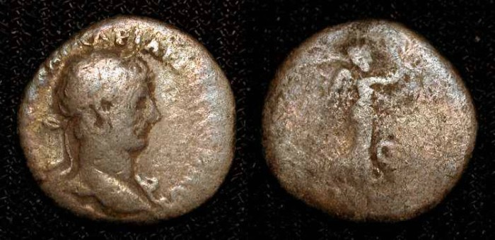 Ancient Coins -  HADRIAN. 117-138 AD. AR Quinarius, SCARCE TYPE.