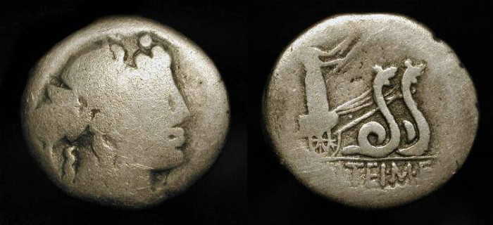 Ancient Coins - x M. Volteius M. f.  78 BC. AR Denarius. Ceres in Chariot drawn by two Snakes