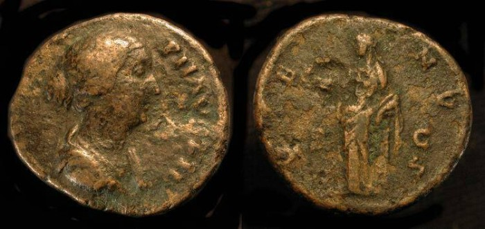 Ancient Coins - Faustina II, Wife of Marcus Aurelius. AE As. RIC 1408