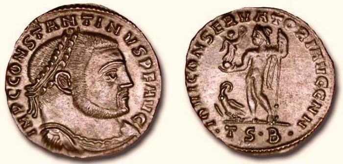 Ancient Coins - Constantine the Great .  307 -337  AD . AE 24 mm Follis .