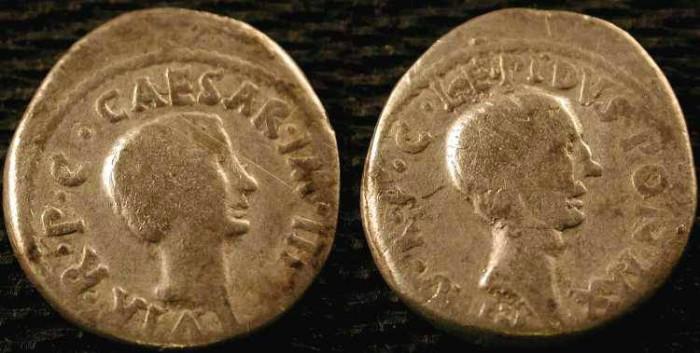 Ancient Coins - x Lepidus and Octavian Denarius . 42 BC .