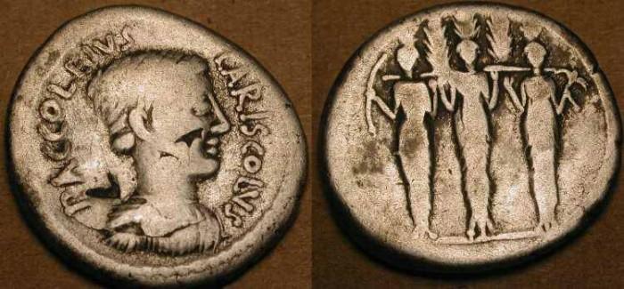 Ancient Coins - Roman Republic . 43 BC  . P Accoleius Lariscolus . Rare Type .