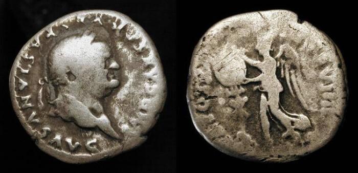 Ancient Coins - Vespasian 69-79 AD. AR Denarius. Judaea Capta. H 1485