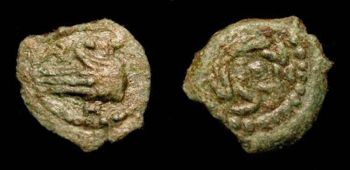 Ancient Coins - xJudaea, Herod Archelaus. 4 BC- 6 AD. AE Lepton. Hendin 506