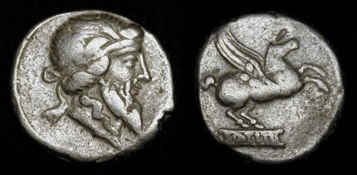 Ancient Coins - Q. Titius. 90 BC. Silver Denarius. Priapus / Pegasus