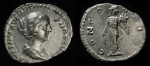 Ancient Coins - Faustina II, wife of Marcus Aurelius. AR Denarius. RIC 500b. Near Mint