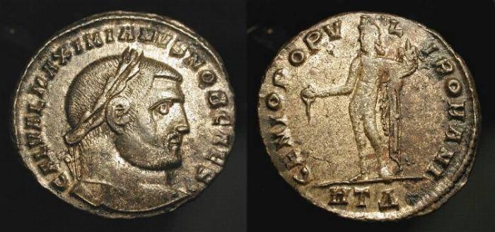 Ancient Coins - Galerius as Caesar, 294-308 AD. AE Silvered Follis