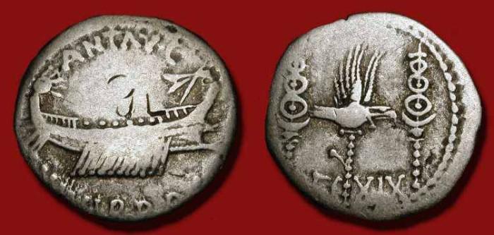 Ancient Coins - Marc Antony, AR Denarius. 32 - 31 BC. Legion XIX