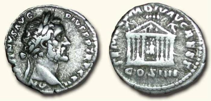 Ancient Coins - Antoninus Pius .  138 - 161  AD . Scarce Architectural Type