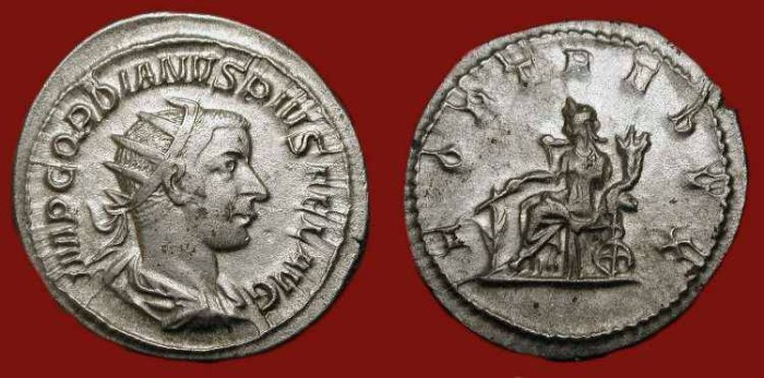 Ancient Coins - Gordian III  238-244 AD.  Silver Antoninianus. Fortuna