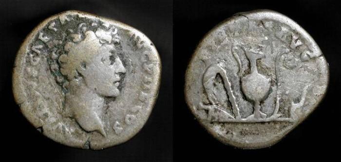 Ancient Coins - Marcus Aurelius as Caesar 140-161 AD. AR Denarius