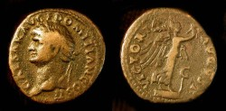 Ancient Coins - Domitian, As Caesar, 69-81 AD. Æ As, Victory