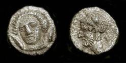 Ancient Coins - > Cilicia, Tarsus. Pharnabazus 379-374 BC. AR Obol. Arethusa / Warrior