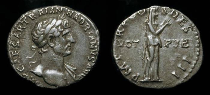 Ancient Coins - Hadrian 117-138 AD AR Denarius. Pietas