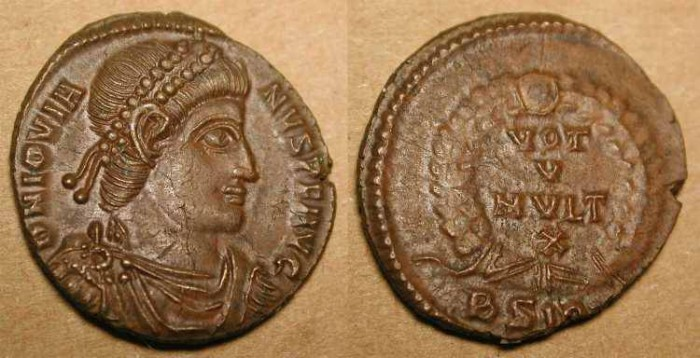 Ancient Coins - x Jovian .  363 - 364  AD .  AE 3 . Outstanding Portrait .