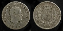 Ancient Coins - Italy.  Vittorio Emanuele II (1861 - 1878). Silver Lira 1863