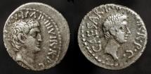 Ancient Coins - Marc Antony and Octavian. 40-39 BC. AR Denarius. Traveling Military Mint.  RSC 1