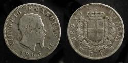 Ancient Coins - Italy.  Vittorio Emanuele II (1861 - 1878). Silver Lira 1863
