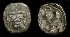 Ancient Coins - Samaria.  5th-4th Century BC. AR Obol. Lion / Sphinx.  M&Q 170