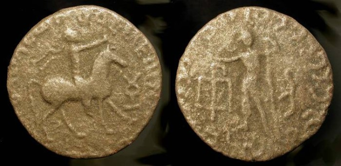 World Coins - Indo Scythian, Azes II,  ca. 35 BC- 5 AD. AE 21.  Horseman / Zeus