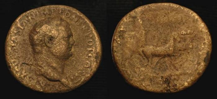 Ancient Coins - Titus, as Caesar under Vespasian 69-79 AD. AE Sestertius. Judaea Capta