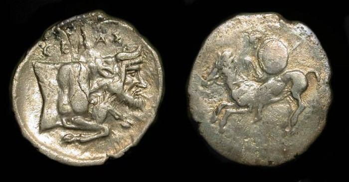 Ancient Coins - Sicily, Gela  430-425 BC. AR Litra. Horseman / Man-Headed Bull.   Reserved for A. C.