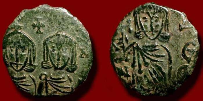 Ancient Coins - Constantine V & Leo IV. 741 - 775 AD.  AE follis