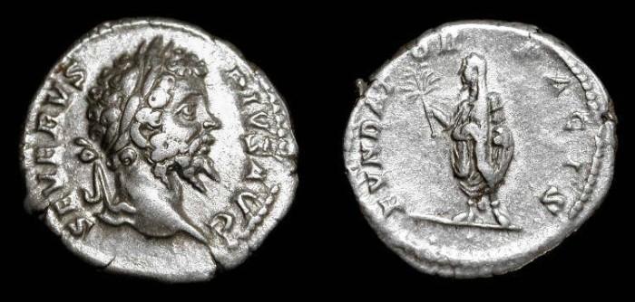 Ancient Coins - Septimius Severus 193-211 AD. AR Denarius.  Rome.