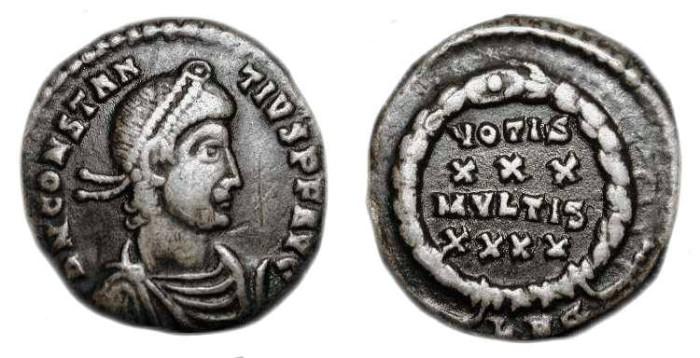 Ancient Coins - Constantius II . 337-361 AD . AR Siliqua .