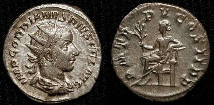 Ancient Coins - Gordian III  238-244 AD.  Silver Antoninianus. Apollo