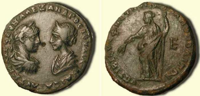 Ancient Coins - Severus Alexander and Julia Maesa  . 222 - 235  AD  .  Markianopolis