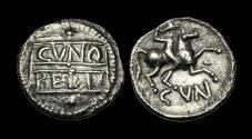 Ancient Coins - CE-UDTJ - CATUVELLAUNI - CUNOBELIN, Silver Unit, ca.10-20AD.        VERY-RARE
