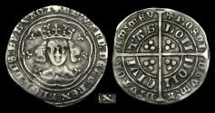 World Coins - ED-UTWB - EDWARD III - Treaty Period Groat, 1361-9AD.                        RARE - curule chair X