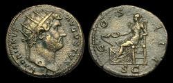 Ancient Coins - OR-UFDT - HADRIAN - Ori. Dupondius, ca.127AD.              TIBER TONE