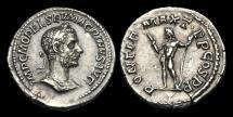 Ancient Coins - PE-UTPF - MACRINUS - AR Denarius, Apr-Dec 217AD.                         RARE, neat bust!