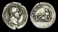 Ancient Coins - TI-JTWB - HADRIAN AR Denarius, ca.134-8AD. AFRICA