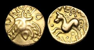 Ancient Coins - CE-KDQP - CATUVELLAUNI - TASCIOVANUS, Gold Quarter Stater, c25-20BC.
