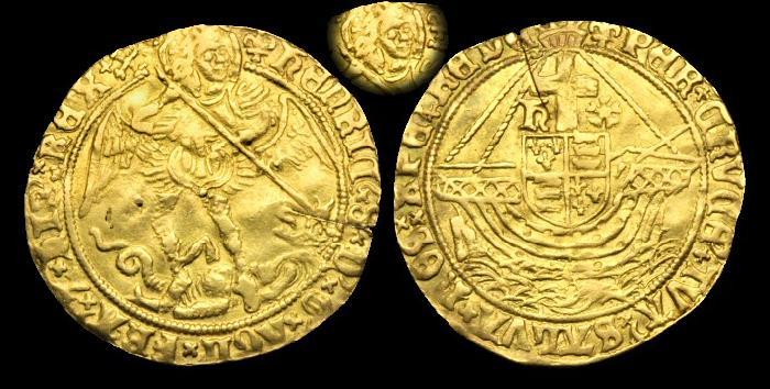 Ancient Coins - TU-KDPT - TUDOR - HENRY VIII, 3rd Iss. Gold Angel, 1544-7AD.....Ex. Lockett & C. Briton.....