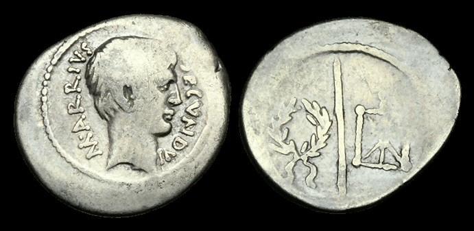 Ancient Coins - RE-UBTP - REPUBLIC - Marcus Arrius Secundus AR Denarius, ca.43BC