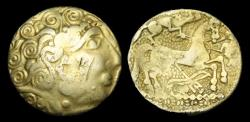 Ancient Coins - CE-UFBQ - NORTH EAST GAUL - AMBIANI, Gold Hemistater, ca. 2nd Century BC.      VERY-RARE
