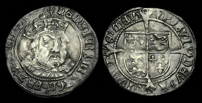 World Coins - TU-BFJD - HENRY VIII 3rd Iss. Groat, ca.1544-7.           BUST !!!