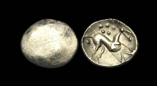 Ancient Coins - CE-FJWU - CELTIC CORIELTAUVI 'South Ferriby' AR Unit, ca.45-10BC