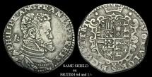 OA-JDUD - PHILIP II of Spain - ITALY, Napoli (Regno), 1st Iss. AR Mezzo Ducato, ca.1554-6AD.