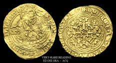 Ancient Coins - ED-KFTD - EDWARD III - Transitional Treaty Period Gold Half Noble, 1361AD.       RARE LEGEND