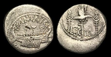 Ancient Coins - RE-FQUD - MARK ANTONY - AR Denarius, circa Autumn 32- Spring 31BC.....Ex. Simon T collection....
