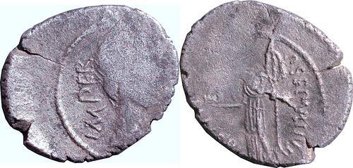 Ancient Coins - MC_2-9 - P. SEPVLLIVS MACER Julius Caesar AR Denarius, c44BC, c21mm max., c3.38g.