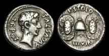 Ancient Coins - RE-PTFU - AUGUSTUS - Moneyer P. Licinius Stolo, AR Denarius, ca.17BC.