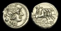Ancient Coins - RE-PJTK - REPUBLIC - C. Cassius, AR Denarius, ca.126BC.