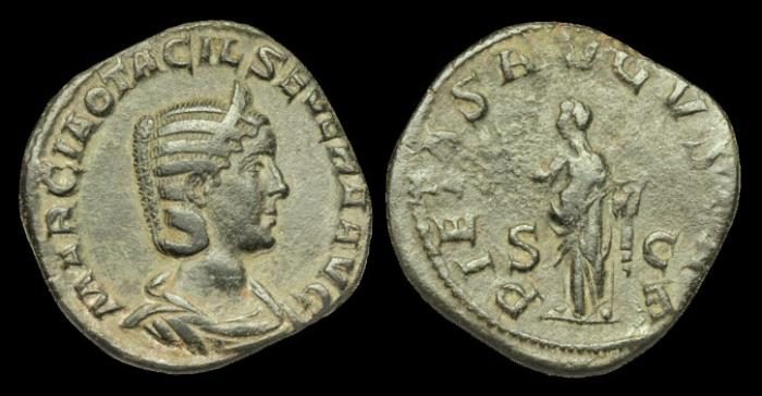 Ancient Coins - OR-KDPU - OTACILIA SEVERA - AE Sestertius, wife of Philip I, c244AD.